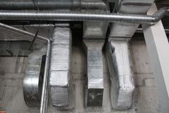 Installed rectangle air duct system. Air duct system with installed rectangle and circle air duct Stock Images