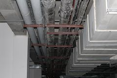 Installed rectangle air duct system. Air duct system with installed rectangle and circle air duct Royalty Free Stock Photos