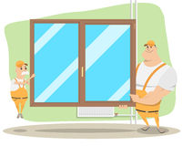 Installers windows in the room royalty free illustration