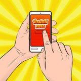 Installieren Sie jetzt! Vector Illustration mit junger Mann ` s Händen, die Smartphone halten lizenzfreie abbildung