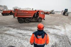 Installierung des Schneeschmelzens Stockfotos