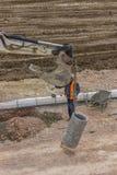 Installierung von Sturmabflusssystem 2 Stockfoto