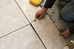Installing Ceramic Tile Stock Images