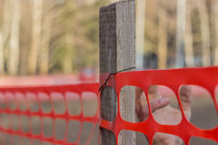 Installing Construction Safety Fence Royalty Free Stock Photography
