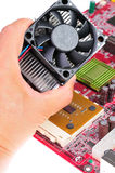 Installing cooling fan Stock Photo