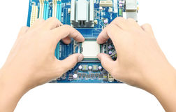 Installing cpu Stock Image
