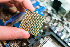 Installing the CPU into the motherboard. Engineer hand sets the processor to the motherboard Royalty Free Stock Image
