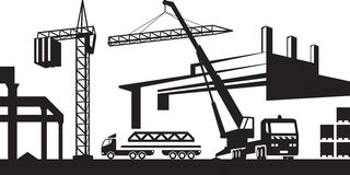 Installing crane on construction site Royalty Free Stock Photography
