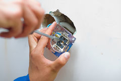 Installing an electrical plug / contact Stock Image