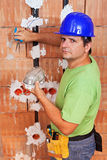 Installing electrical wires Stock Photo