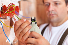 Installing electricity in a new building Stock Photos