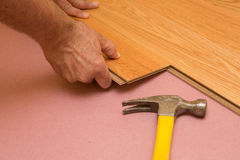 Installing Engeneered Hardwood Floor Stock Photo