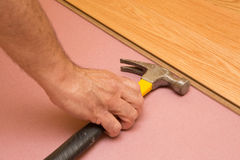 Installing Engeneered Hardwood Floor. Stock Photos