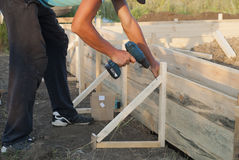 Installing the formwork Stock Image