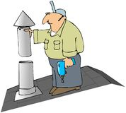 Installing A Furnace Flue Cap Royalty Free Stock Photo