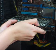 Installing of graphic card Stock Photos