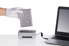 Installing hard disk and read in docking station. Stock Image