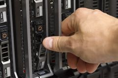 Installing Hard Drive in Blade Server Stock Photo