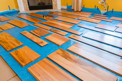 Installing hardwood floor Royalty Free Stock Photography