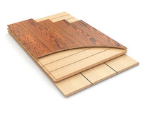 Installing laminate floor and wood samples. Stock Photo