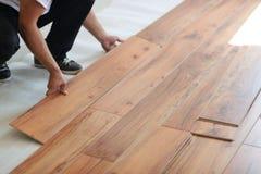 Installing laminate flooring royalty free stock image