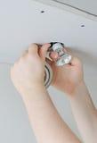 Installing of light bulb Stock Image