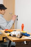 Installing a light switch. Royalty Free Stock Photo