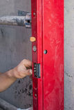 Installing mechanism of lift door Stock Photo
