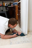 Installing new flooring Royalty Free Stock Image