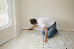 Installing new flooring Stock Images