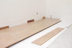 Installing New Laminate Floor Royalty Free Stock Photos