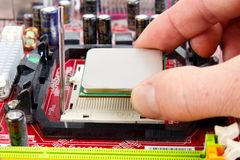Installing new processor Stock Photography