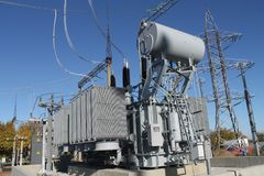 Auto transformer installation on the foundation. stock photography