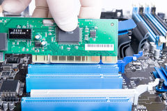 Installing PCI LAN card intop slot. Expert in white mitten is installing green PCI LAN or video card into blue computer slot Royalty Free Stock Image