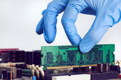 Installing In Place Computer RAM Memory Chip Stock Photography