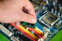 Installing RAM computer memory Stock Photography