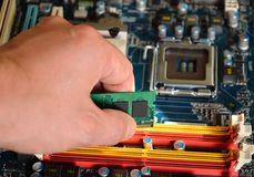 Installing RAM computer memory Royalty Free Stock Photography