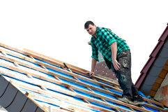 Installing roofing Royalty Free Stock Image