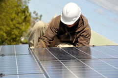 Installing Solar Panel Wiring 3 Stock Photography