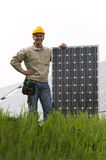 Installing Solar Panels Stock Photo