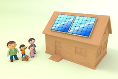 Installing solar power. Installing the solar panels. Happy family. Self-generation for the future. Receive the energy of nature Stock Image
