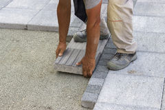 Installing tactile paving Royalty Free Stock Photo