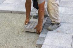 Installing tactile paving Royalty Free Stock Photo