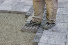 Installing tactile paving 2 Royalty Free Stock Images