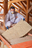 Installing thermal insulation layer on a house Stock Photo