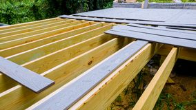 Installing repair and replacement of wood floor for patio. Installing wooden deck patio wood floor for patio royalty free stock photography