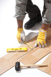 Installing wooden floor Royalty Free Stock Images