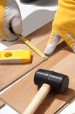 Installing wooden floor Royalty Free Stock Photos