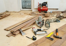 Installing a wooden floor. Stock Photography