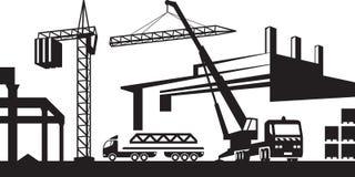 Instalować żurawia na budowie ilustracja wektor